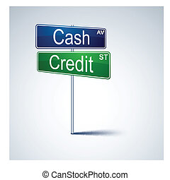 Cash credit direction road sign.