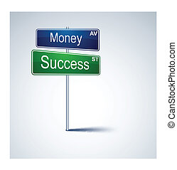 Money success direction road sign. - Vector direction road...