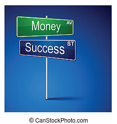 Money success direction road sign.
