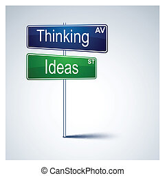 Thinking ideas direction road sign. - Vector direction road...
