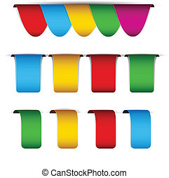 Set of paper labels - Vector set of multicolored paper...