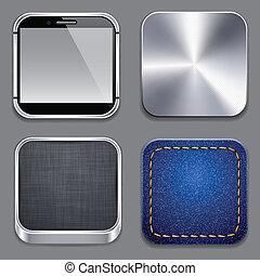 cuadrado, moderno, App, plantilla, iconos