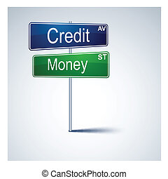 Credit money direction road sign.