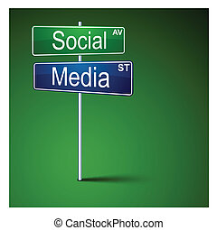 Social media direction road sign. - Vector direction road...
