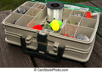 Tackle Box w/equipment - Side view of tackle box filled with...