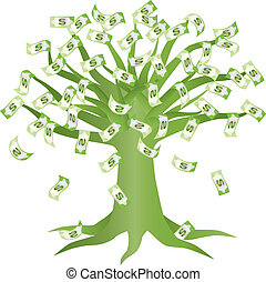 Green Money Tree Illustration - Money Growing on Green Tree...