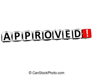 3D Approved Crossword on white background