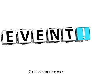 3D Event Crossword on white background