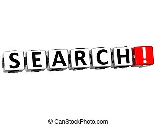 3D Search Crossword on white background