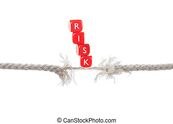 Risk - Dice labelled risk balanced on breaking rope