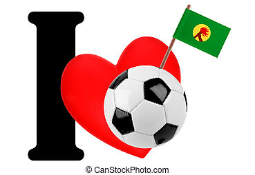 I love soccer ball - Small flag on a red heart and the word...