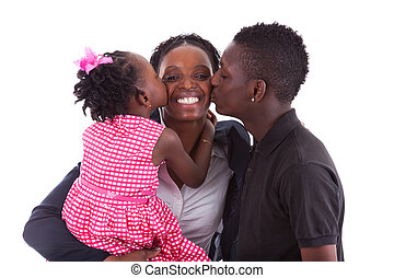 Happy african mother with her childrens, isolated on white...