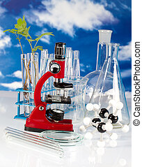 laboratory equipment - laboratory glassware on reflective...