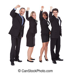 Group of happy business colleagues holding billboard...