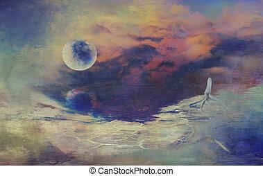 digital, dibujo, Ciencia, ficción, paisaje, luna