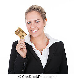 Businesswoman holding credit card Isolated on white