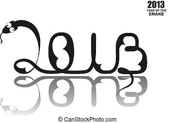 Snake 2013 - Black silhouette of New Year Snake 2013