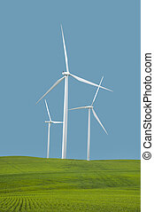 Wind turbines under a clear blue sky