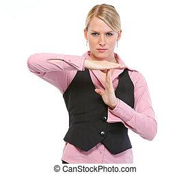 Woman employee showing break gesture