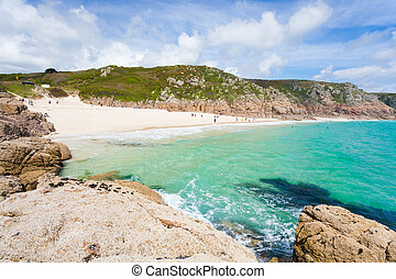 Porthcurno Cornwall England - The golden sandy beach at...