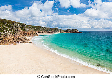 Porthcurno Cornwall England - View along the golden sandy...