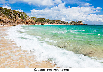 Porthcurno Cornwall England - Wave crashing on the golden...