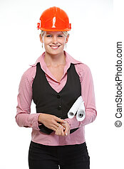 Smiling architect woman with flip charts