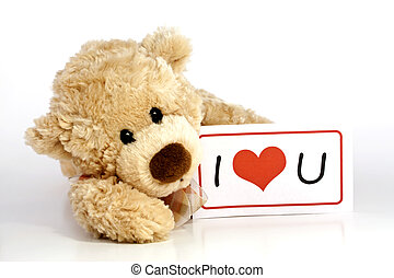 Teddy bear with I Love You Sign - Cute furry brown teddy...