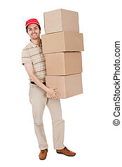 Delivery man carrying stack of boxes Isolated on white
