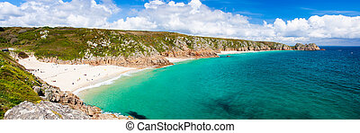 Porthcurno Cornwall England - Panoramic view of Porthcurno...
