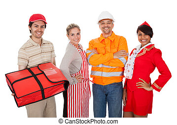Diverse group of smiling workers Isolated on white