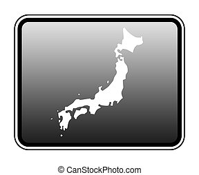 Japan map on computer tablet