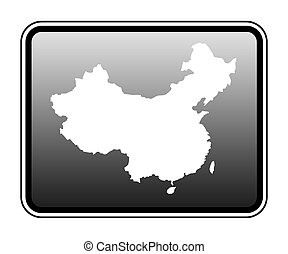 China map on computer tablet