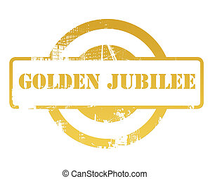 Golden jubilee stamp isolated on white background.
