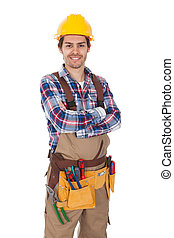 Confident worker wearing toolbelt. Isolated on white