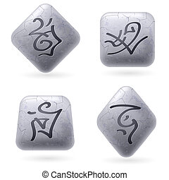 Runic Stones with Magical Spells. Set number Seven on white