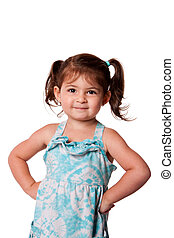 Little miss attitude - Cute little young toddler girl with...