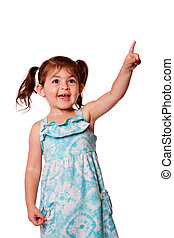 Little girl pointing up