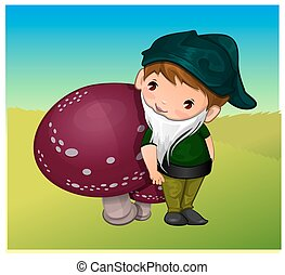 Gnome, illustration - Gnome, Leaning on a Mushroom, vector...