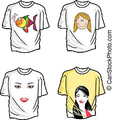 T-shirts, illustration - T-shirts, Various Designs, Four,...