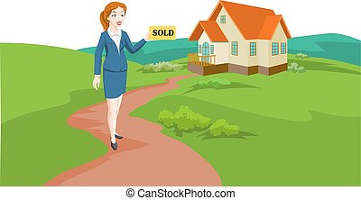 Woman Real Estate Agent Selling a House, illustration -...