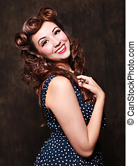 Adorable Pin Up Style Girl in Studio