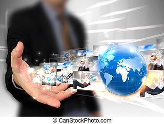 homem negócios, segurando, mundo, tecnologia,...