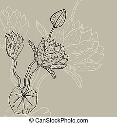 background with a water lily drawn by contour line. Vector...