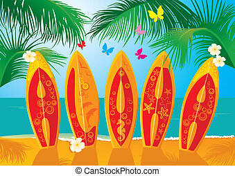Summer Holiday Postcard- surf - Summer Holiday Postcard -...