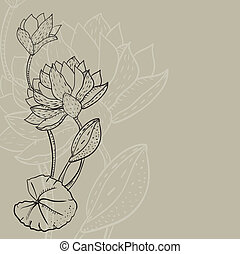 retro background with a water lily - Retro background with a...
