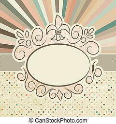Template with retro sun burst and olka dot. EPS 8