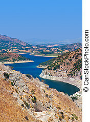 View from ancient city of Pergamon to the lake - Turkey -...
