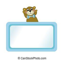 Lite Blue Bulletin Board and Bear
