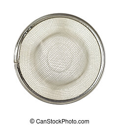 Mesh sink strainer - A metal mesh sink strainer on a white...